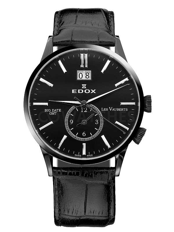 Edox Les Vauberts GMT Big Date 62003 3 NIN - YouTube