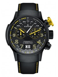 Edox Chronorally Xtreme Pilot Grossdatum Wochentag Chronograph Quarz 38001 TINNJ NJ3 watch image