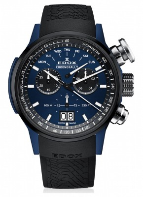 Edox Chronorally Chronograph Big Date 38001 TINBU1 BUIB1 watch picture