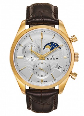 Edox Les Vauberts Chronograph Mondphase Date Quarz 01655 37J AID watch picture