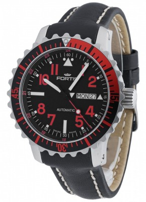 Fortis Aquatis Marinemaster DayDate Red 670.23.43 L.01 watch picture