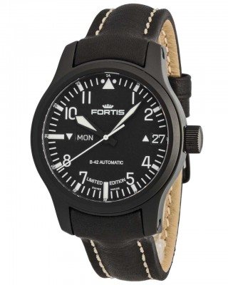 Fortis B42 Flieger Black Automatic DayDate Limited Edition 655.18.91 L.01 watch picture